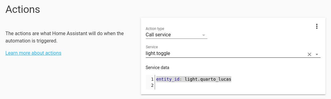 Configured action for toggling light in Home Assistant