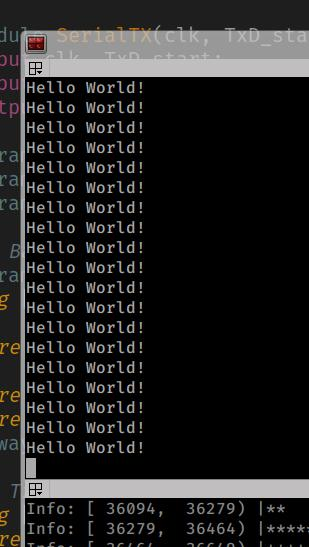 Hello World output from FPGA