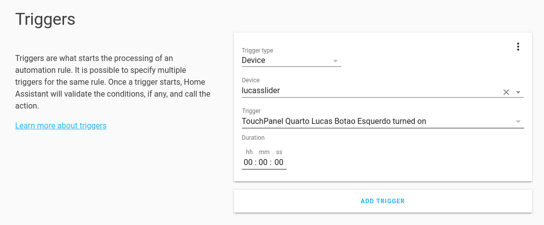 Triggers Section showing this automation will be triggered when TouchPanel button is turned on