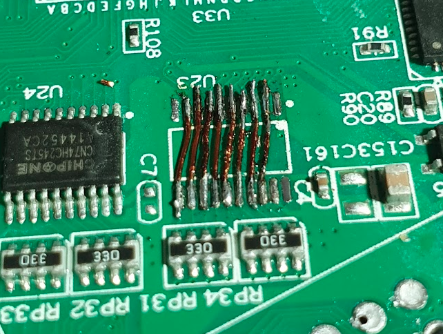 Bypass wires soldered in U23