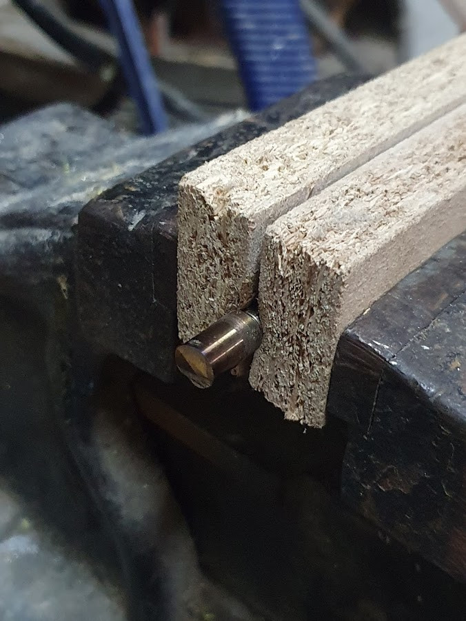 Plywood and cutted shaft
